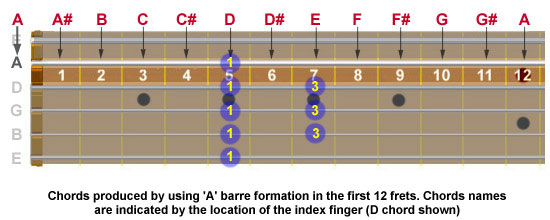 Guitar neck showing 12 chords produced by using A-barre formation in first 12 frets